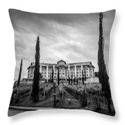 Vineyards And Chateau-bw Throw Pillow