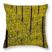 Vineyards Full Of Mustard Grass Throw Pillow