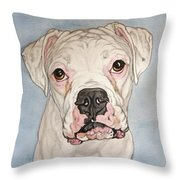 Vinnie The White Boxer Throw Pillow
