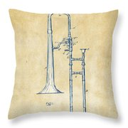Vintage 1902 Slide Trombone Patent Artwork Throw Pillow