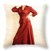 Vintage 1940's Style Fashion Plate Throw Pillow by Diane Diederich