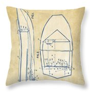 Vintage 1943 Chris Craft Boat Patent Artwork Throw Pillow