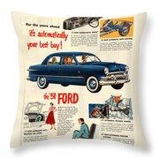 Vintage 1951 Ford Car Advert Throw Pillow