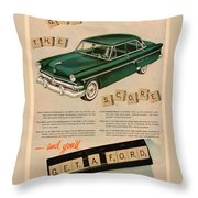 Vintage 1954 Ford Classic Car Advert Throw Pillow