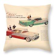 Vintage 1956 Oldsmobile Car Advert Throw Pillow