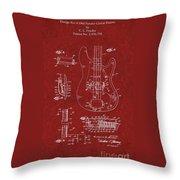 Vintage 1961 Fender Guitar Patent Throw Pillow