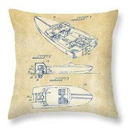 Vintage 1972 Chris Craft Boat Patent Artwork Throw Pillow