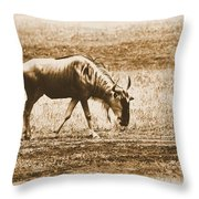 Vintage African Safari Wildbeest Throw Pillow