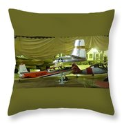 Vintage Airplanes Display Throw Pillow
