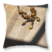 Vintage Amber Necklace Throw Pillow