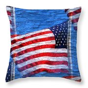 Vintage Amercian Flag Abstract Throw Pillow