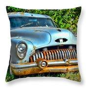 Vintage American Car In Yard Throw Pillow