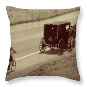 Vintage Amish Buggy And Bicycle Throw Pillow