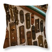 Vintage And Antique Door Knob And Lock Plates Throw Pillow