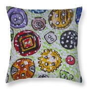 Vintage Antique Buttons Throw Pillow