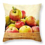 Vintage Apple Basket Throw Pillow