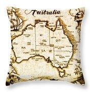 Vintage Australia Map Throw Pillow