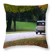Vintage Auto On The Road Again Throw Pillow by Kay Novy
