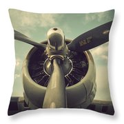 Vintage B-17 Flying Fortress Propeller Throw Pillow