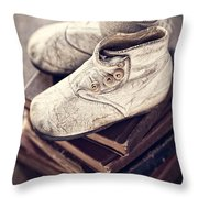 Vintage Baby Boots And Books Throw Pillow