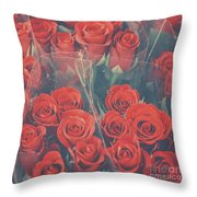 Vintage Background Of Roses In Bouquet Throw Pillow