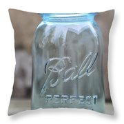 Vintage Ball Mason Blue Throw Pillow