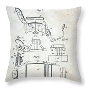 Vintage Barber Chair Patent Throw Pillow