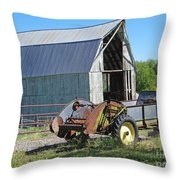 Vintage Barn And Equipment Throw Pillow