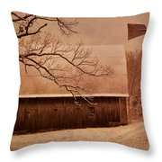 Vintage Barn And Windmill Winter Throw Pillow