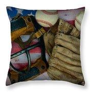 Vintage Baseball American Folk Art Throw Pillow