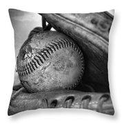 Vintage Baseball And Glove Throw Pillow