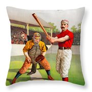 Vintage Baseball Print Throw Pillow