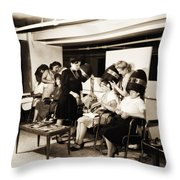 Vintage Beauty Parlor Throw Pillow