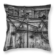 Vintage Bicycle Built For Two In Black And White Throw Pillow