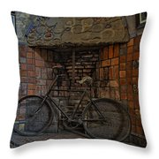 Vintage Bicycle Throw Pillow by Susan Candelario