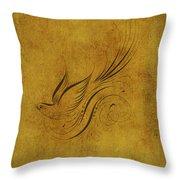 Vintage Bird On Gold Throw Pillow