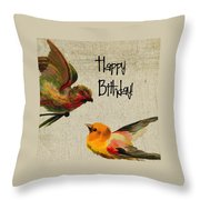 Vintage Birthday Birds Throw Pillow