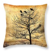 Vintage Blackbirds On A Winter Tree Throw Pillow