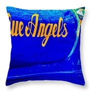 Vintage Blue Angel Throw Pillow by Benjamin Yeager