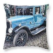 Vintage Blue Car 2 Throw Pillow