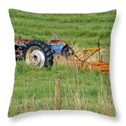 Vintage Blue Tractor Throw Pillow