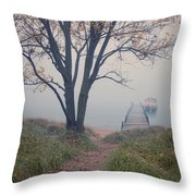 Vintage Boat At Small Dock Throw Pillow