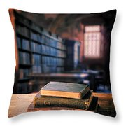 Vintage Books And Glasses In An Old Library Throw Pillow
