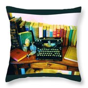 Vintage Books And Typewriter Throw Pillow