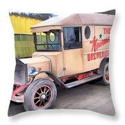 Vintage Brewery Van Throw Pillow