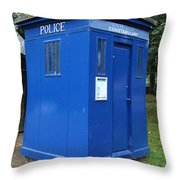 Vintage British Blue Police Phone Box Throw Pillow