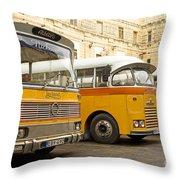 Vintage British Buses In Valetta Malta Throw Pillow