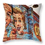 Vintage Building Art Throw Pillow