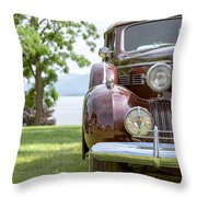 Vintage Caddy At Lake George Throw Pillow