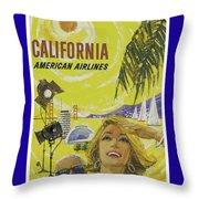Vintage California Travel Poster Throw Pillow